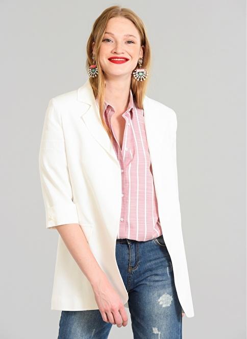 People By Fabrika Blazer Ceket Beyaz
